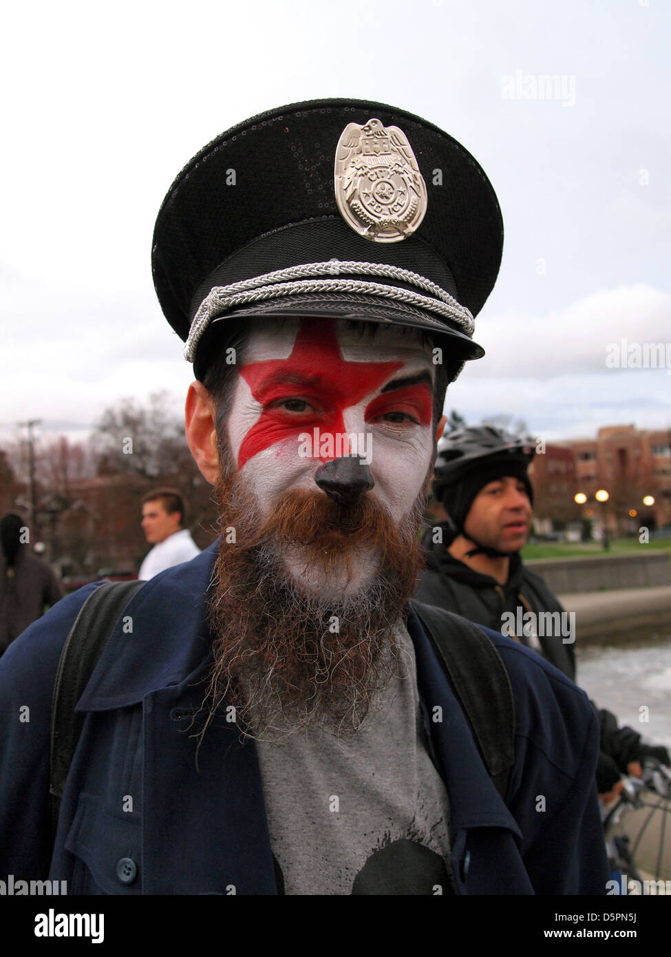 Protestor clown at an anti-police demonstration in Seattle, Washington, USA - Stock Image