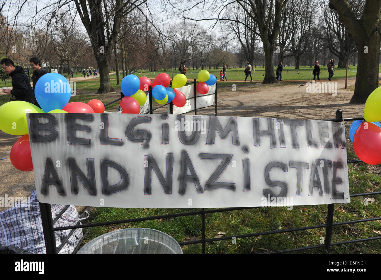 Hyde Park, London, UK. 7th April 2013. Signs and balloons at the small gathering in Hyde Park by Roma, Gypsy and Stock Photo