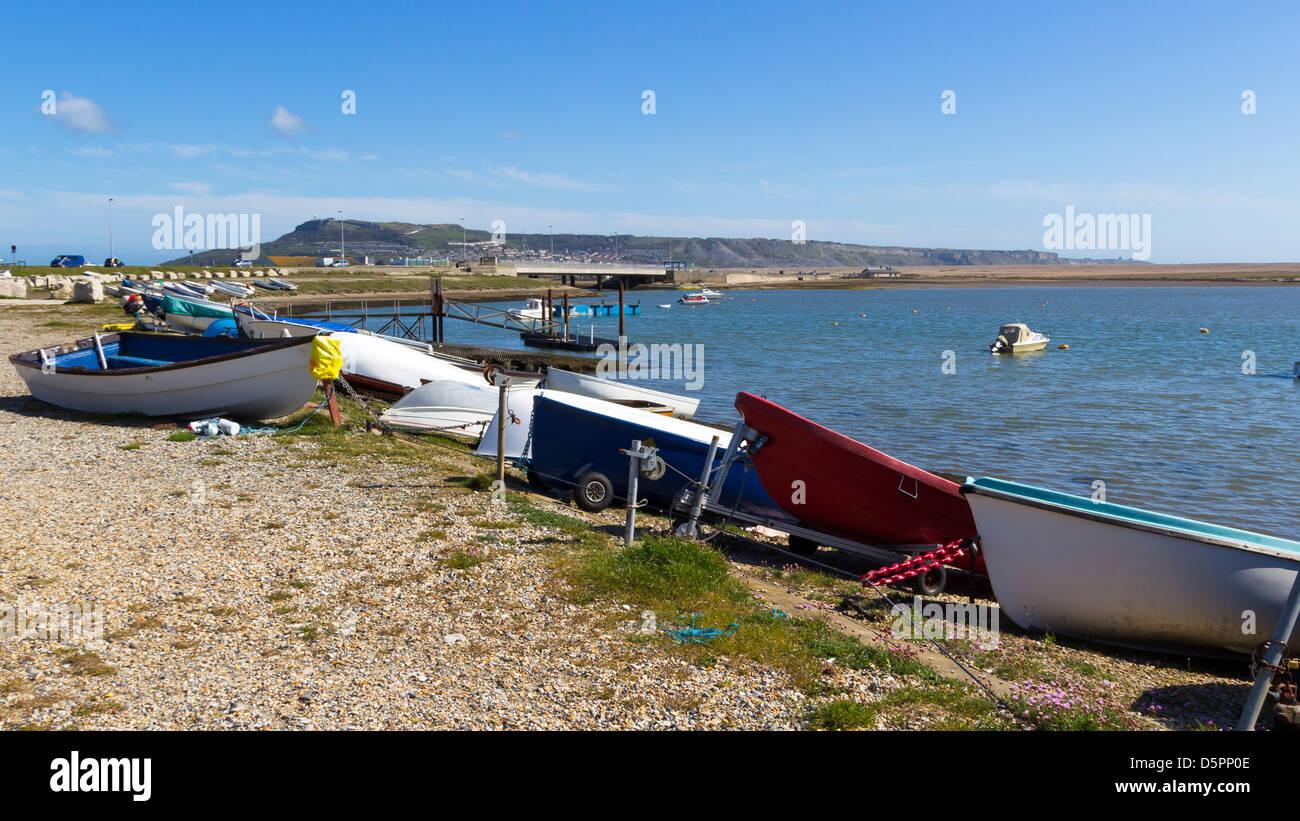 Boats on the Fleet Portland Dorset England UK - Stock Image