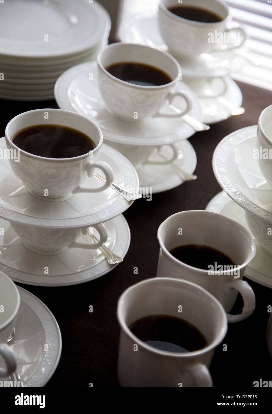 ac6f0743ea0 Fancy coffee cups filled with hot coffee Stock Photo: 55204612 - Alamy