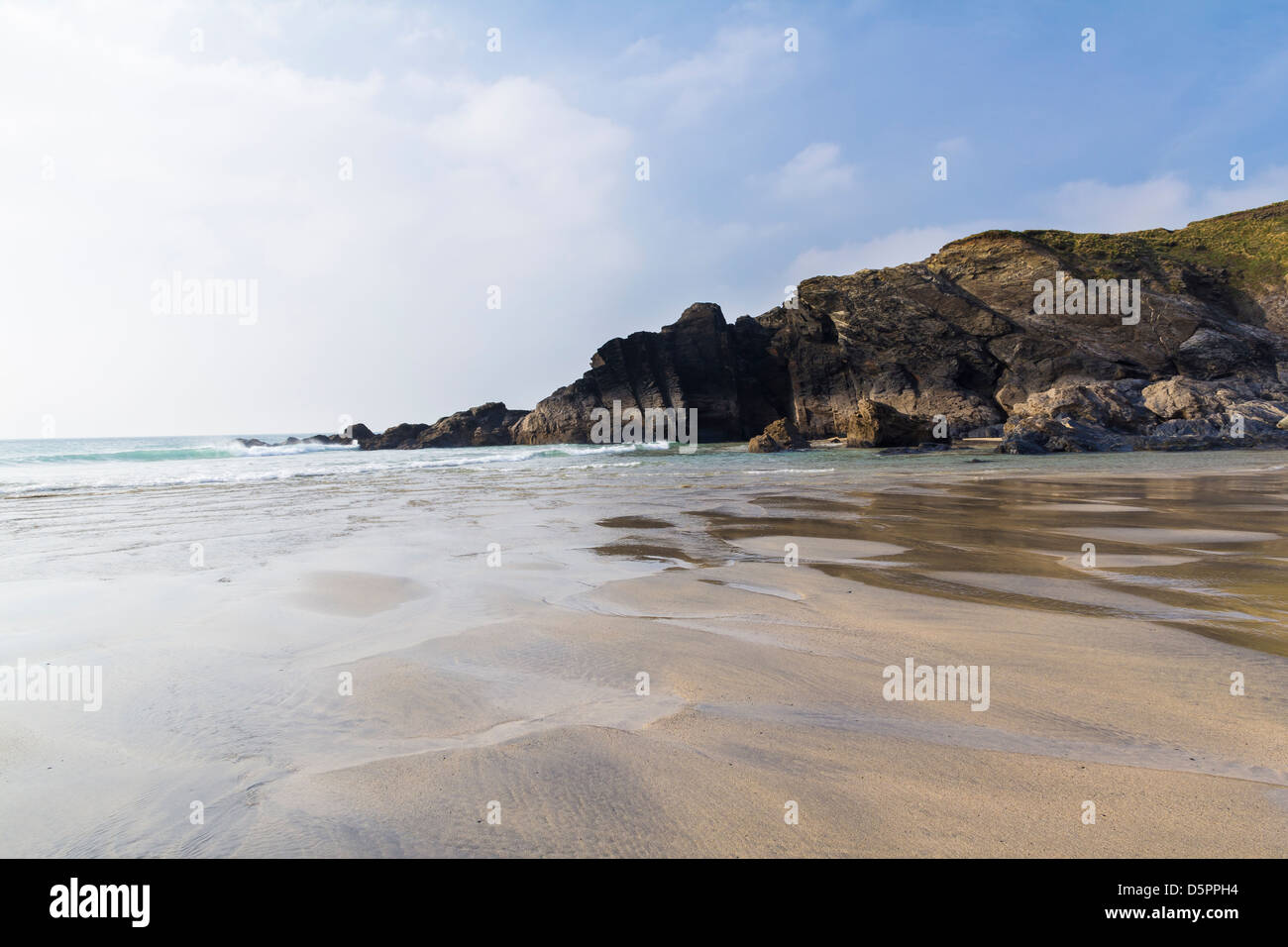On the beach at Polurrian Cove Mullion Cornwall England UK - Stock Image