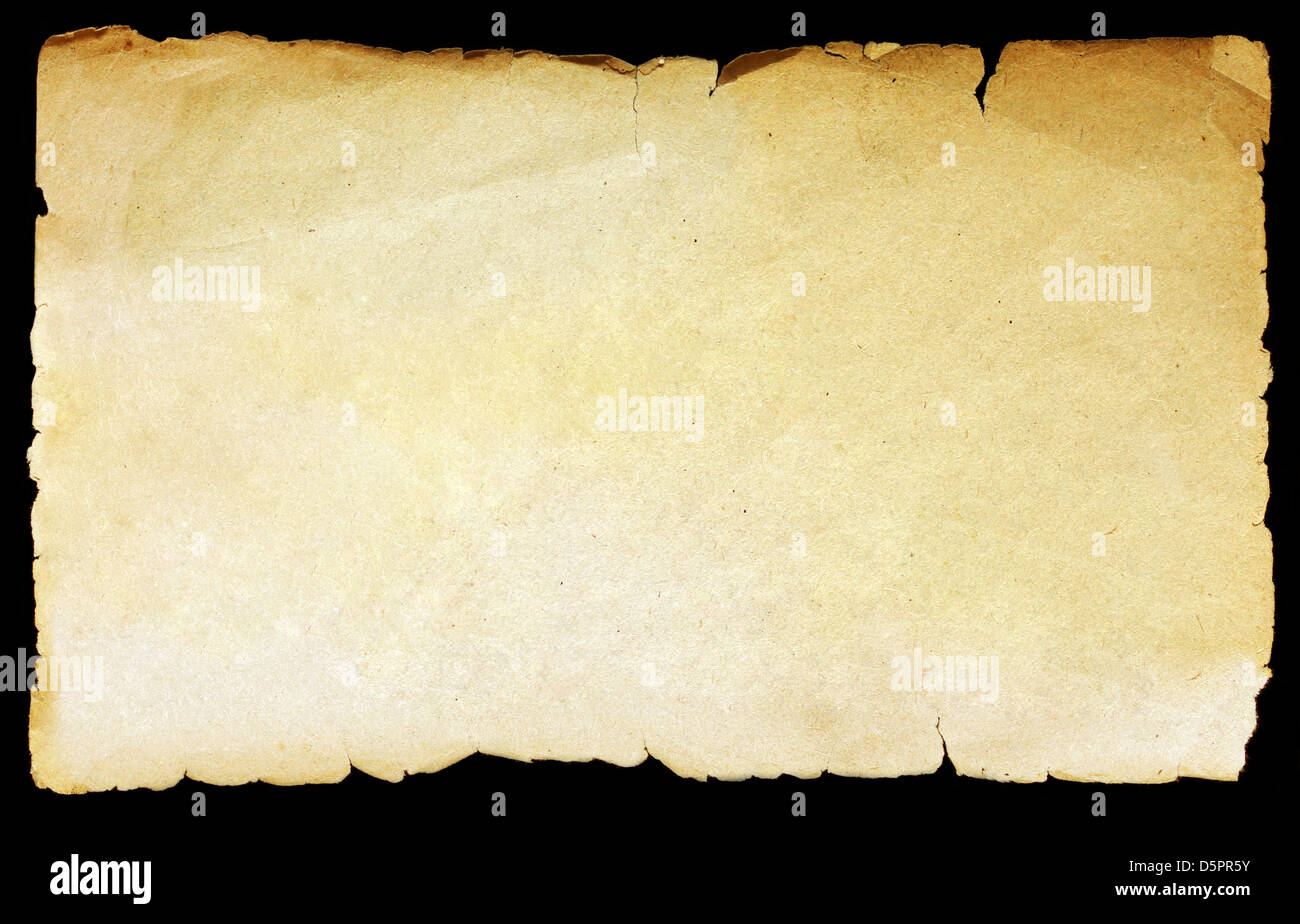 Vintage texture old paper background isolated on black. - Stock Image