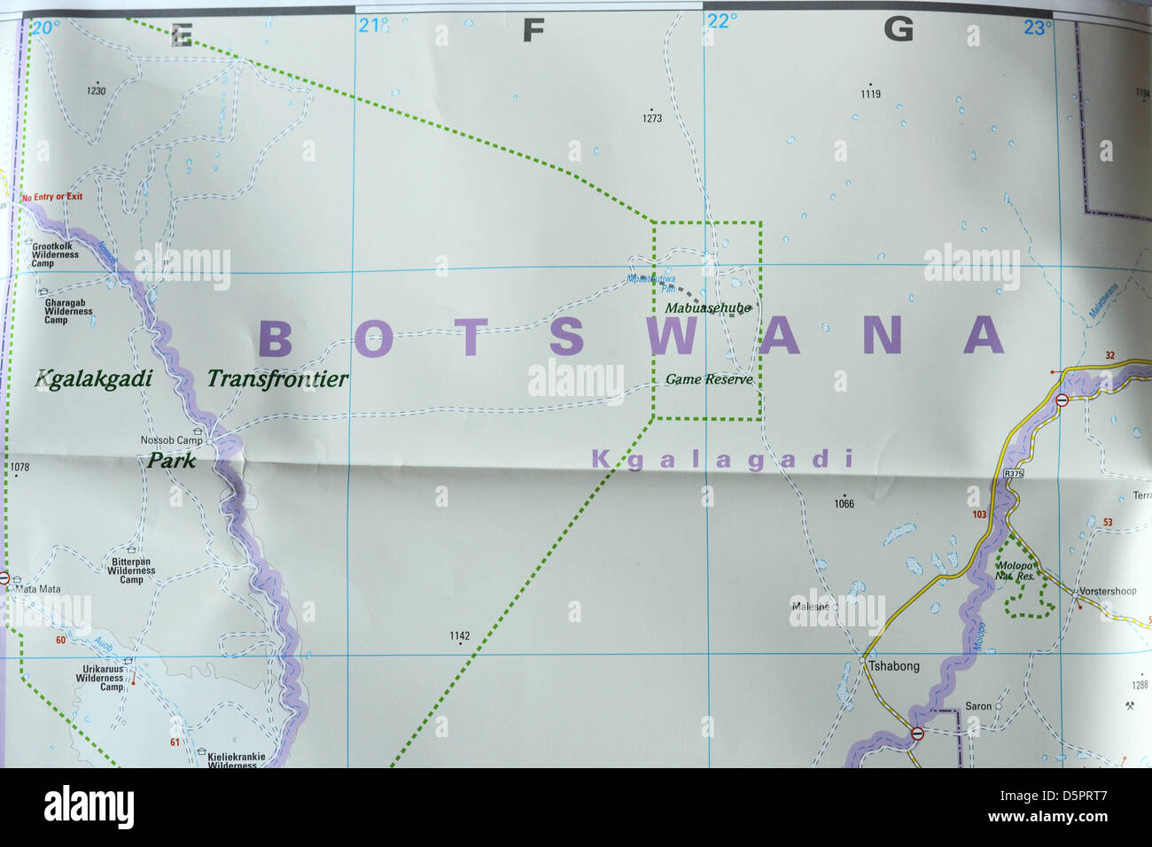 Botswana South Africa Map.Image Of A Map Of Southern Africa Focusing On Botswana Stock Photo