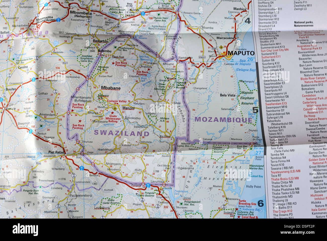 Images of a map of Southern Africa. Stock Photo