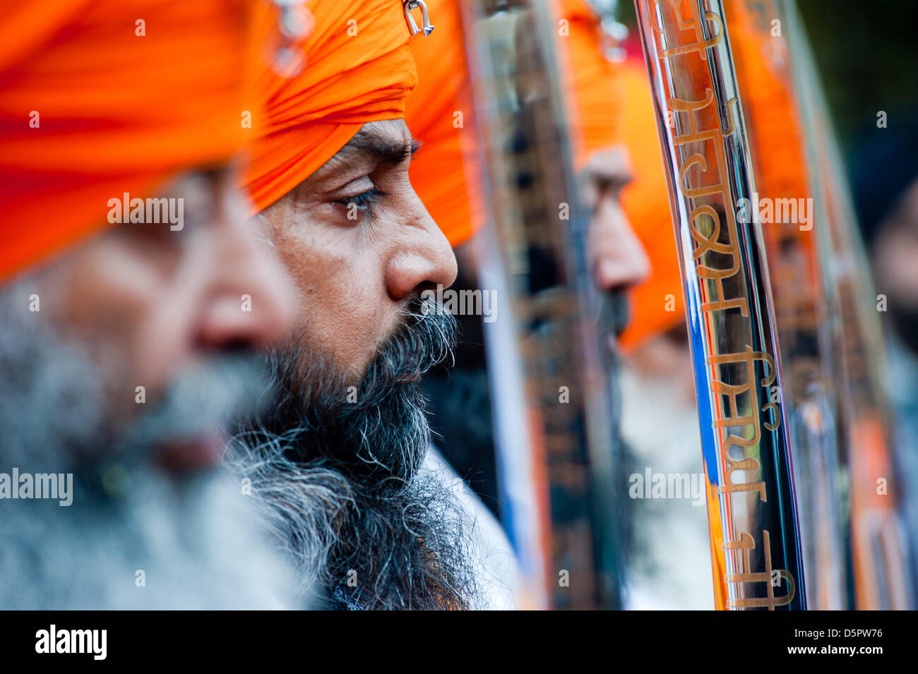 London, UK. 7th April 2013. One of the Panj Piare during the celebrations of Nagar Kirtan in Southall. Credit: Piero - Stock Image