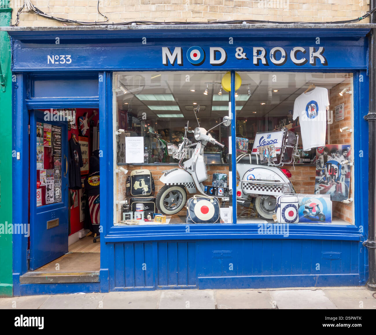 Mods and Rockers 60s Revival Shop Mod and Rock Vespa Scooter - Stock Image