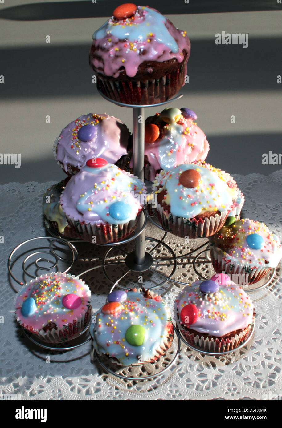 Cupcakes On A Stand Stock Photo 55208291 Alamy