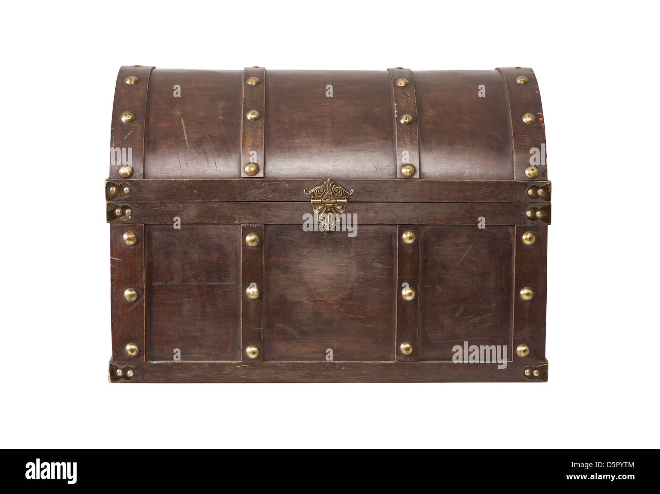 Old Treasure chest isolated on white background - Stock Image