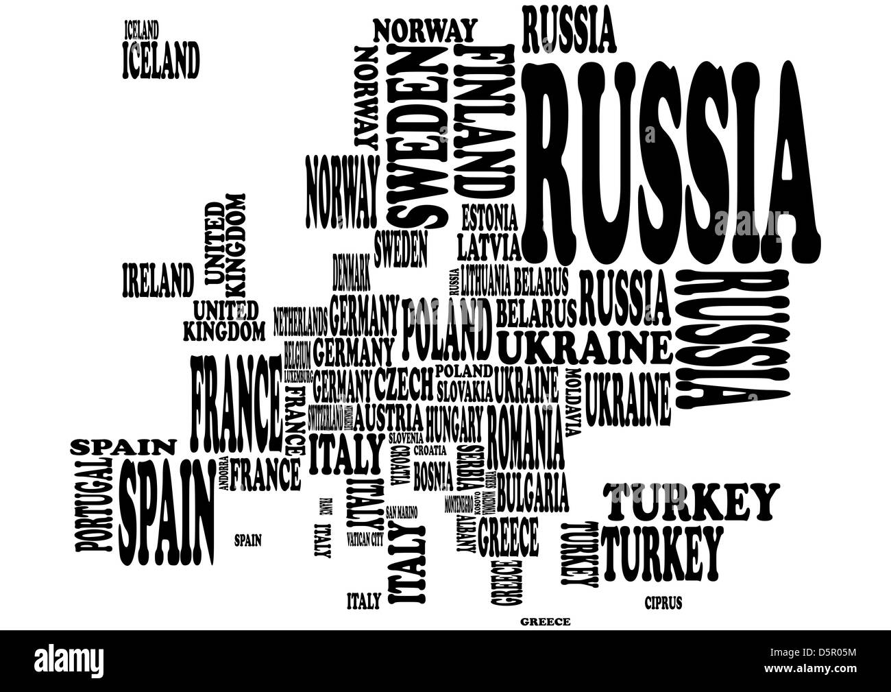 illustration of europe map with country name Stock Photo ...