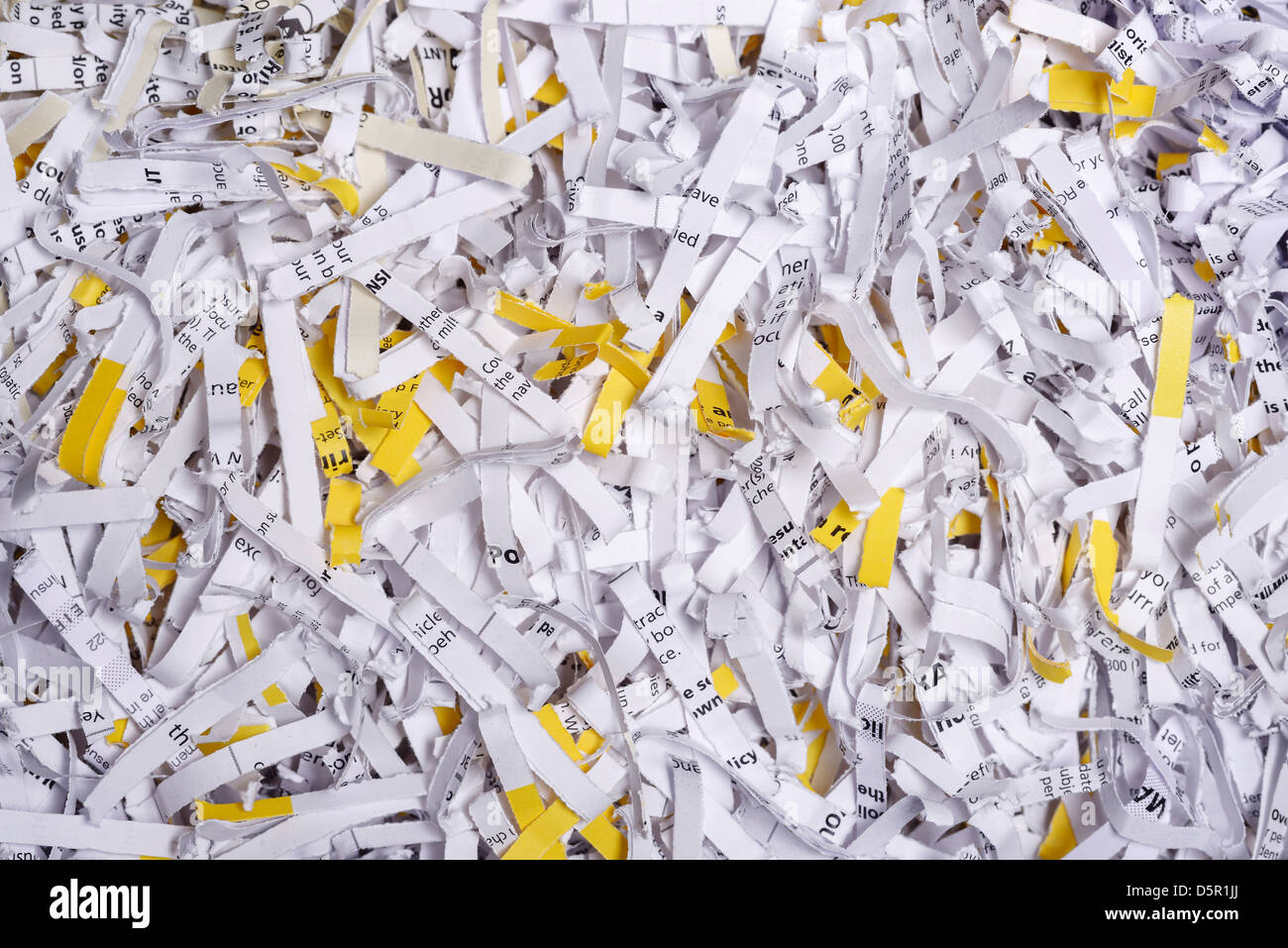 Close up detail of shredded paper - Stock Image