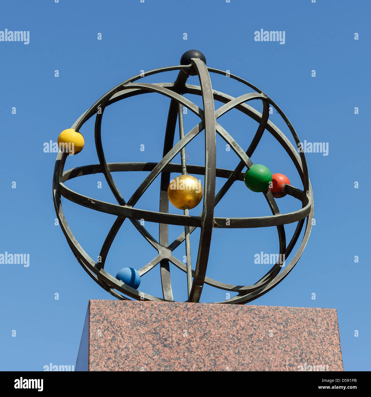 An Orrery Memorial sculpture to Joseph Wright in Iron Gate Derby UK - Stock Image