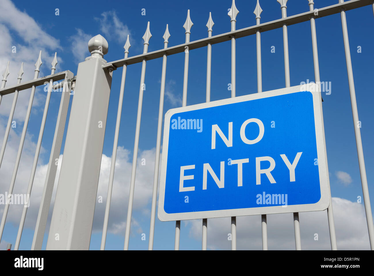 No Entry sign on metal railings - Stock Image