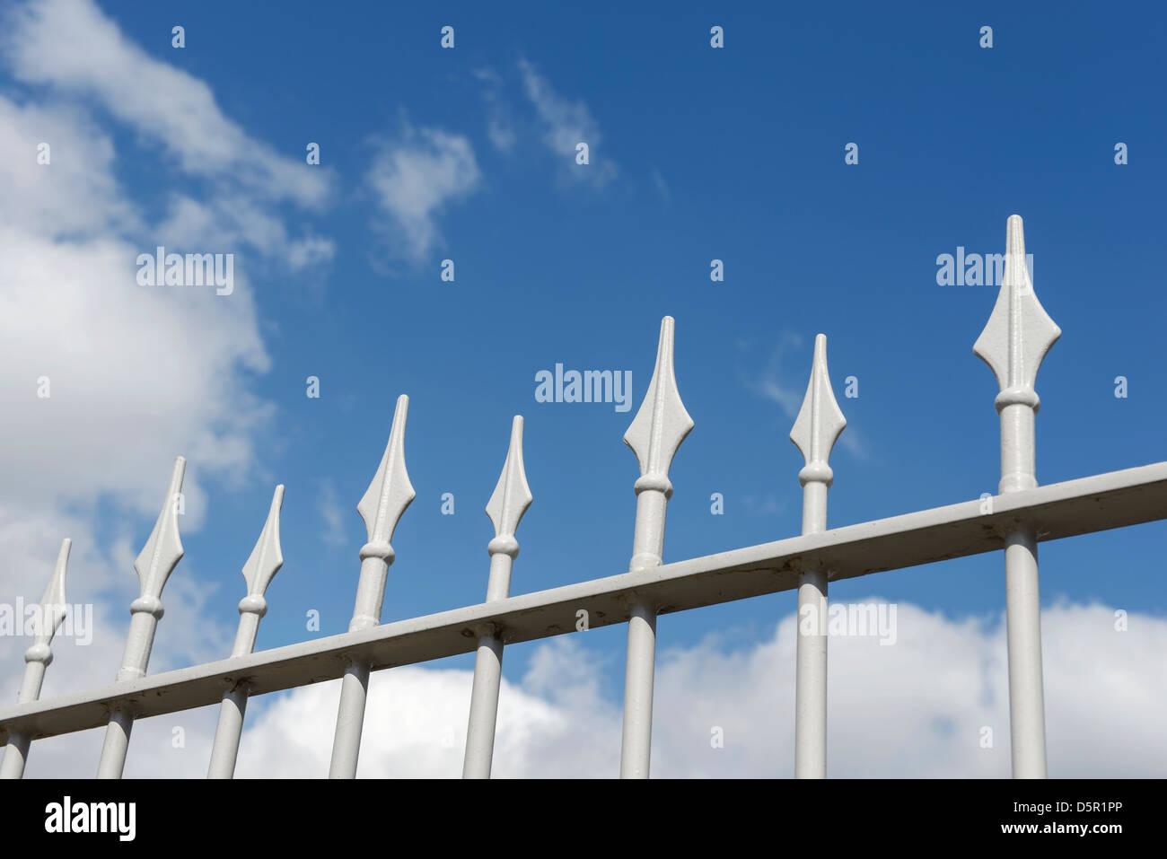 Metal railing spikes - Stock Image