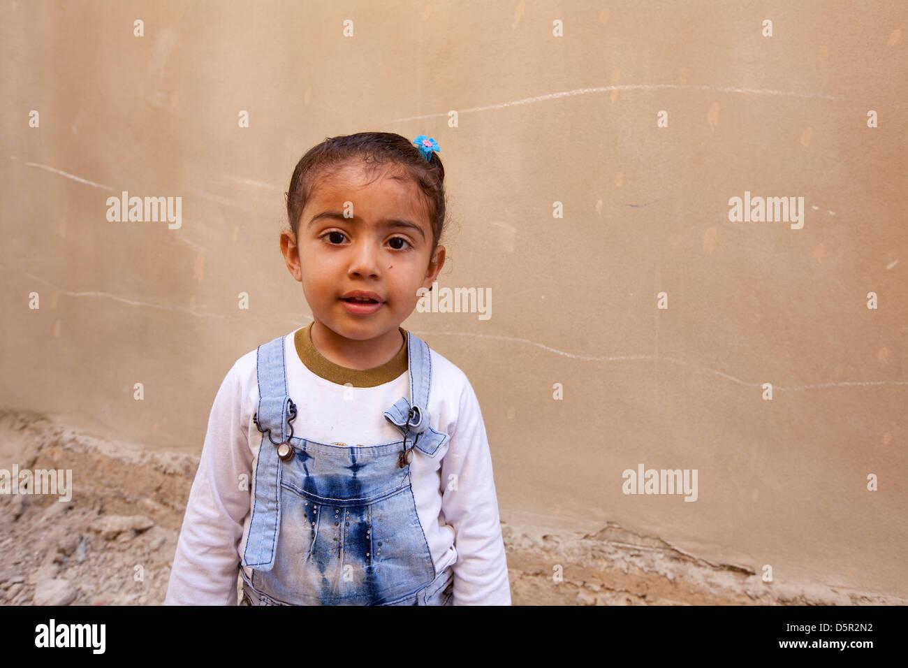 Young Palestinian girl in Berj El Shamel refugee camp, Tyr, Lebanon - Stock Image