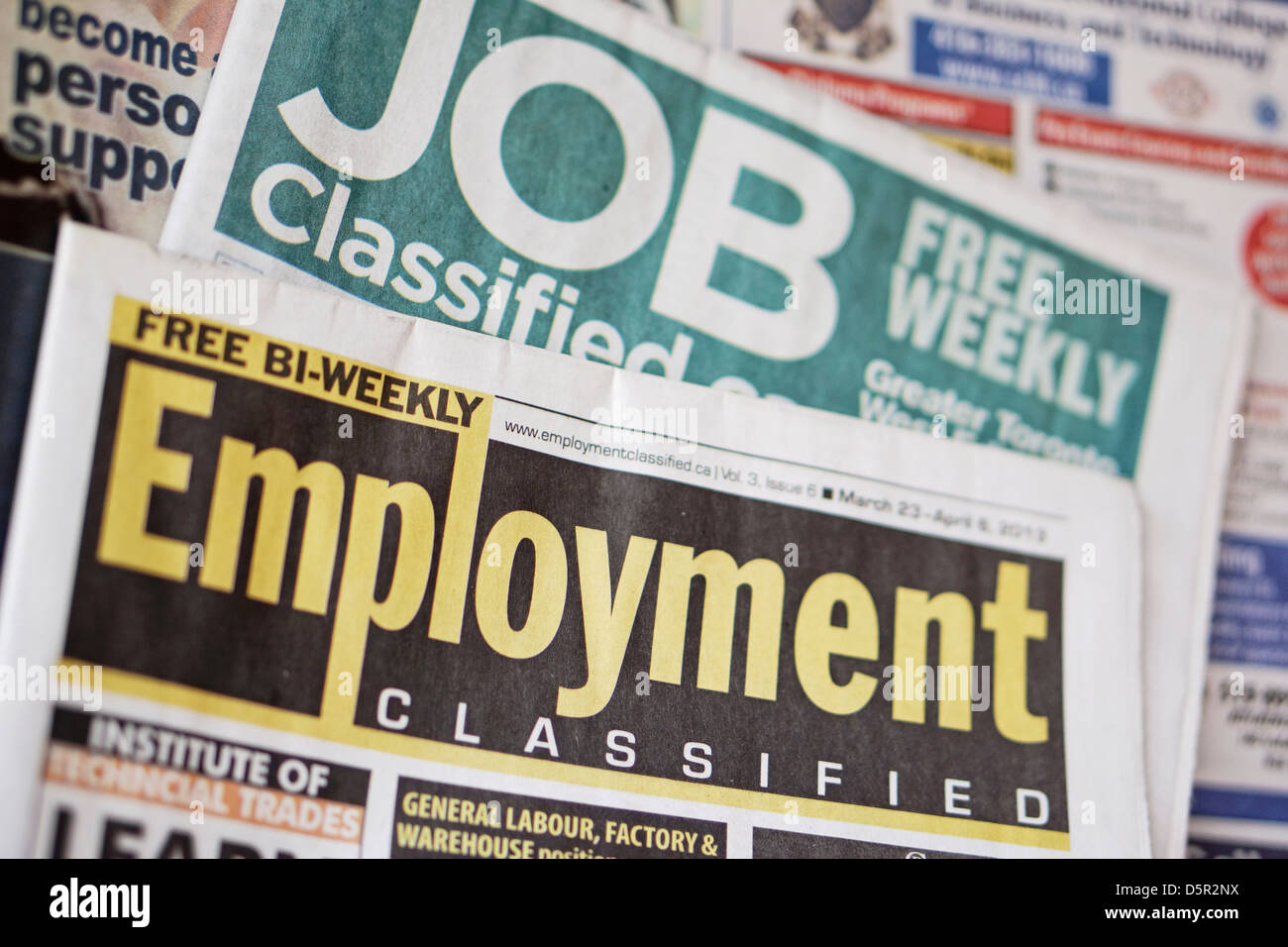 Jobs Employment Classifieds Newspaper, Ontario, Canada - Stock Image