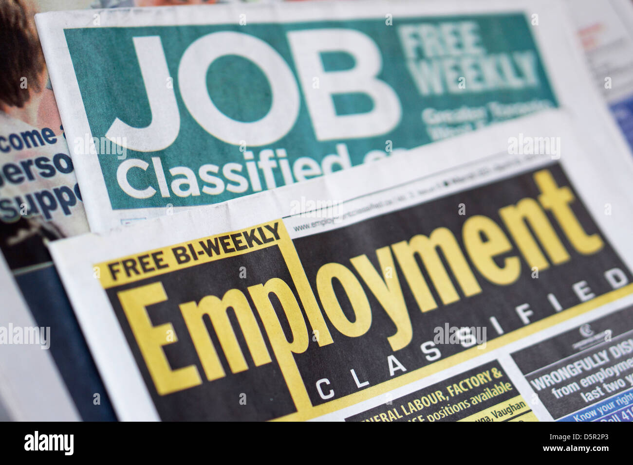 Jobs Employment Classifieds Newspaper, Ontario, Canada Stock Photo