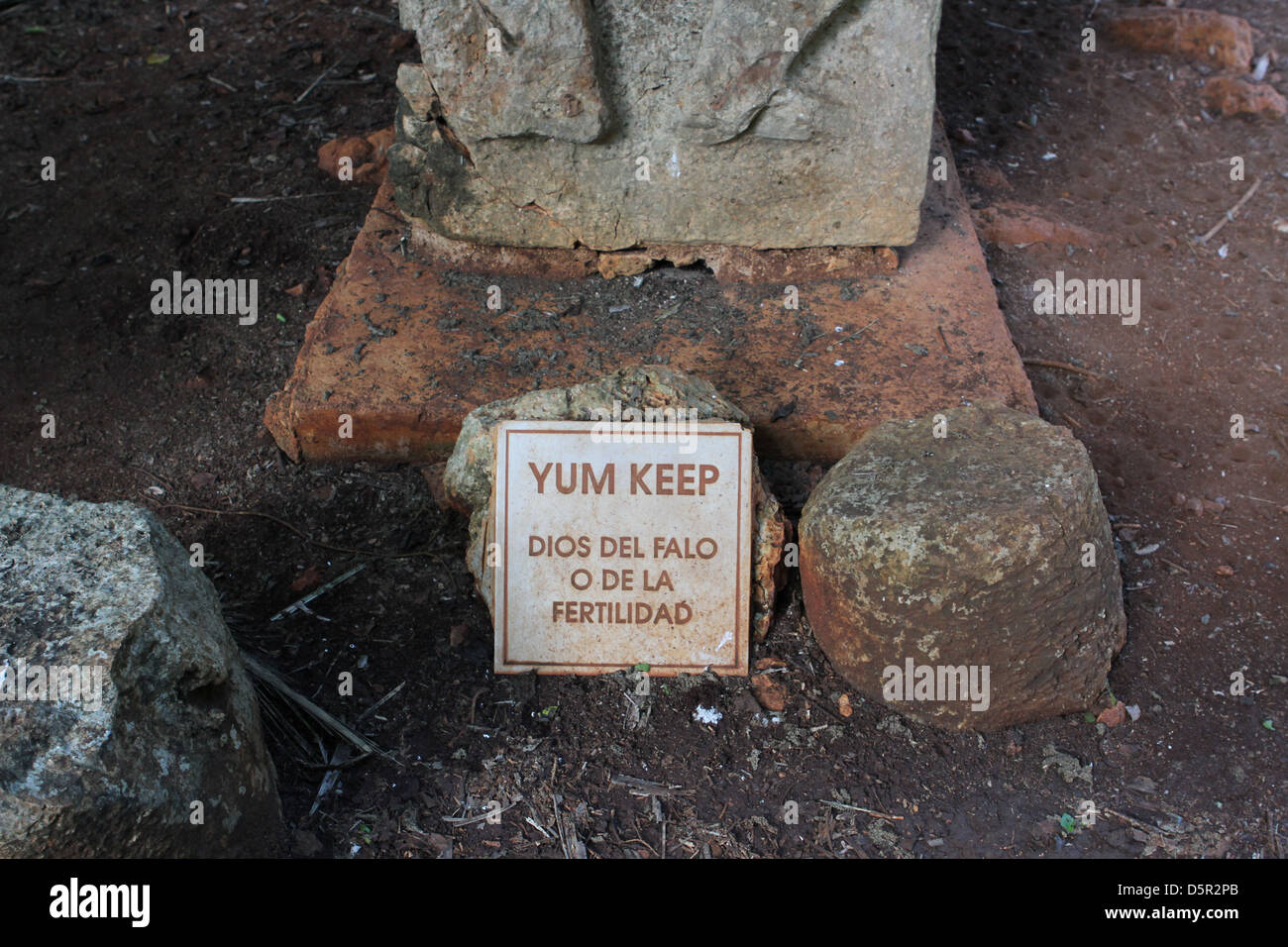 A sign underneath the Yum Keep fertility Goddess statue in Yucatan, Mexico. - Stock Image