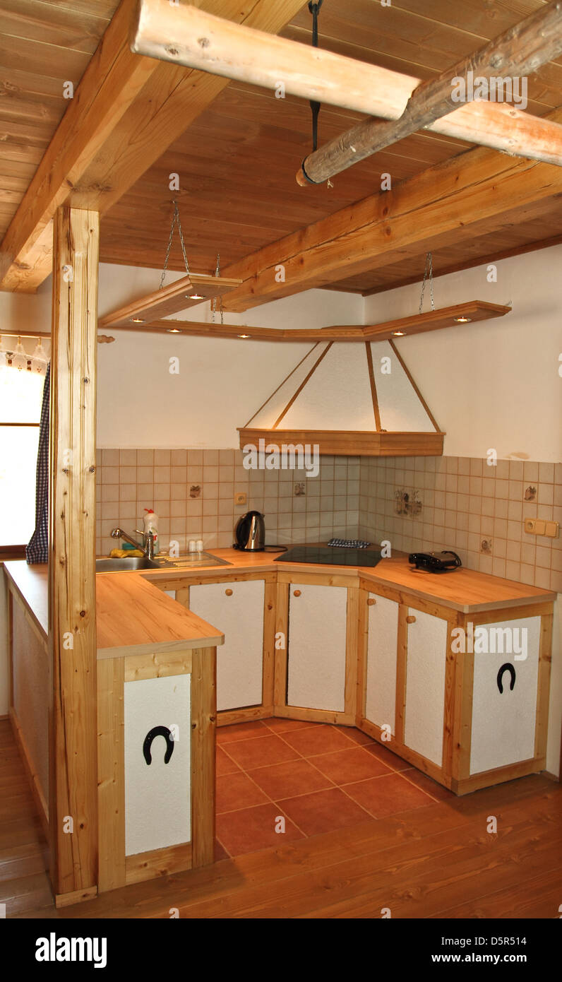 Wooden ceiling and kitchen Stock Photo