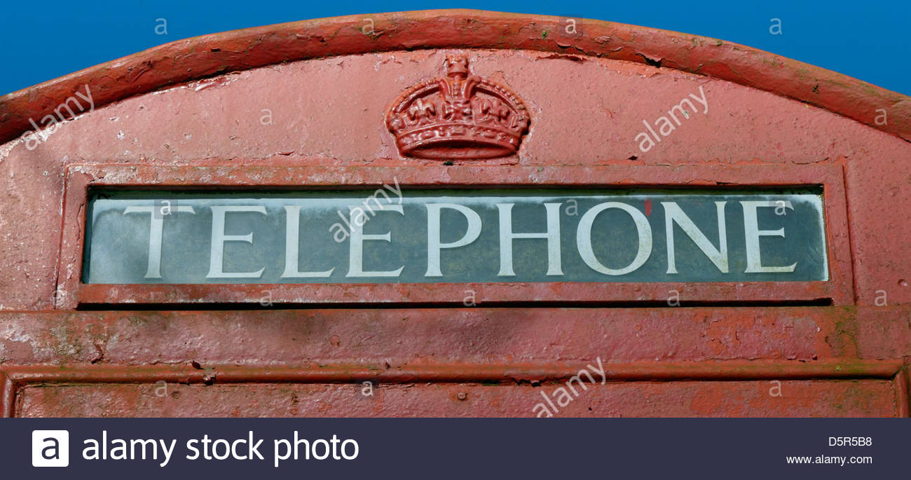 Close up of  a telephone kiosk sign - Stock Image