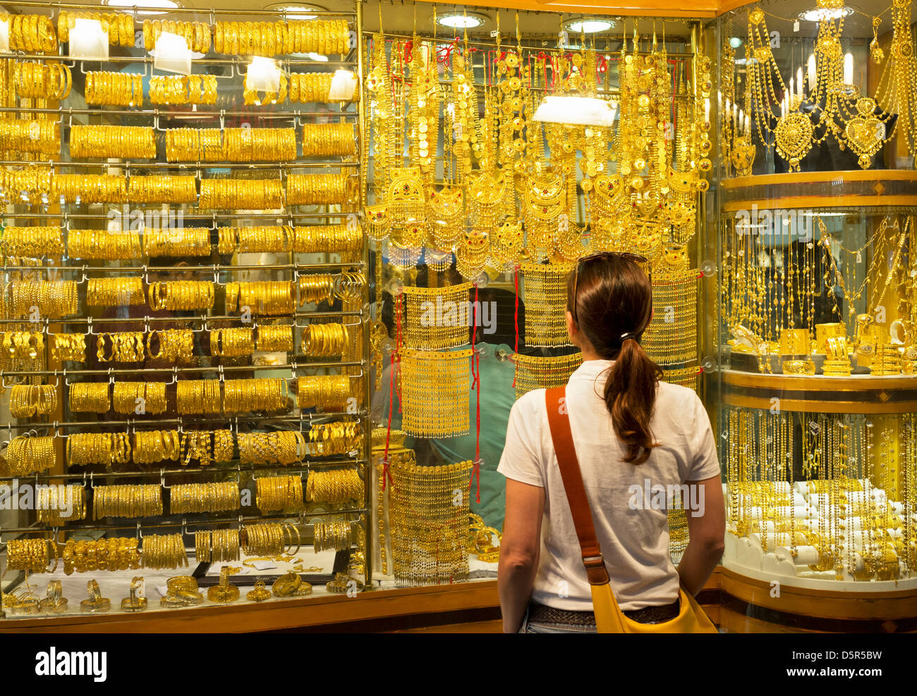 Window Display Of Gold Jewellery In Gold Souk In Deira