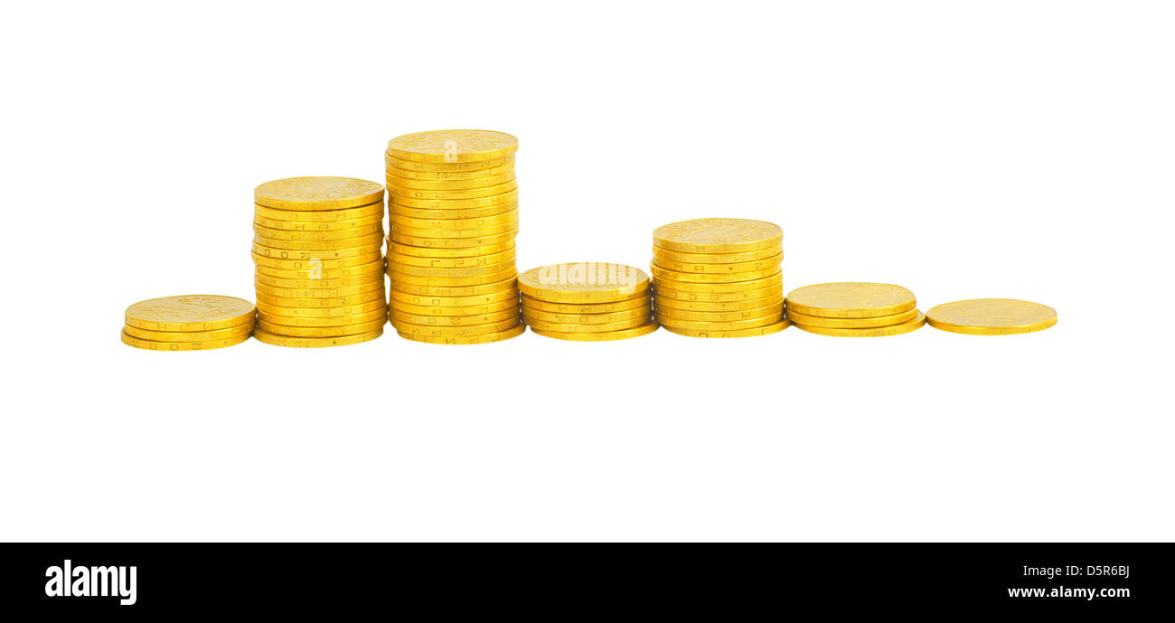 graph of the columns of coins isolated on white Stock Photo