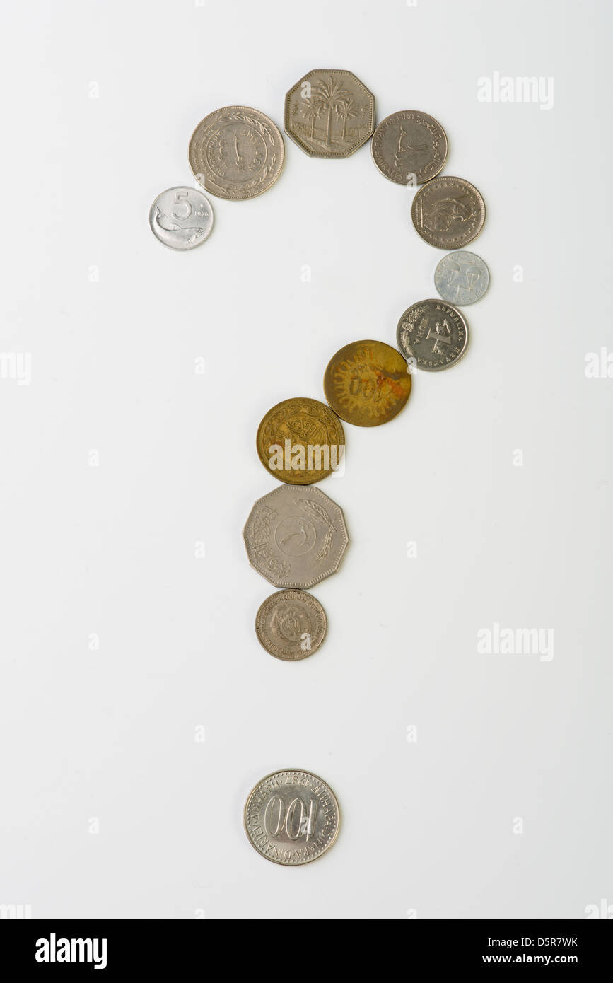 A question mark with coins - Stock Image