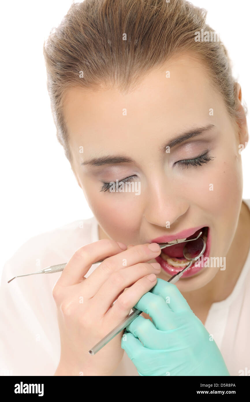 attractive, dentist, esthetic, face, medicine, tooth, young - Stock Image