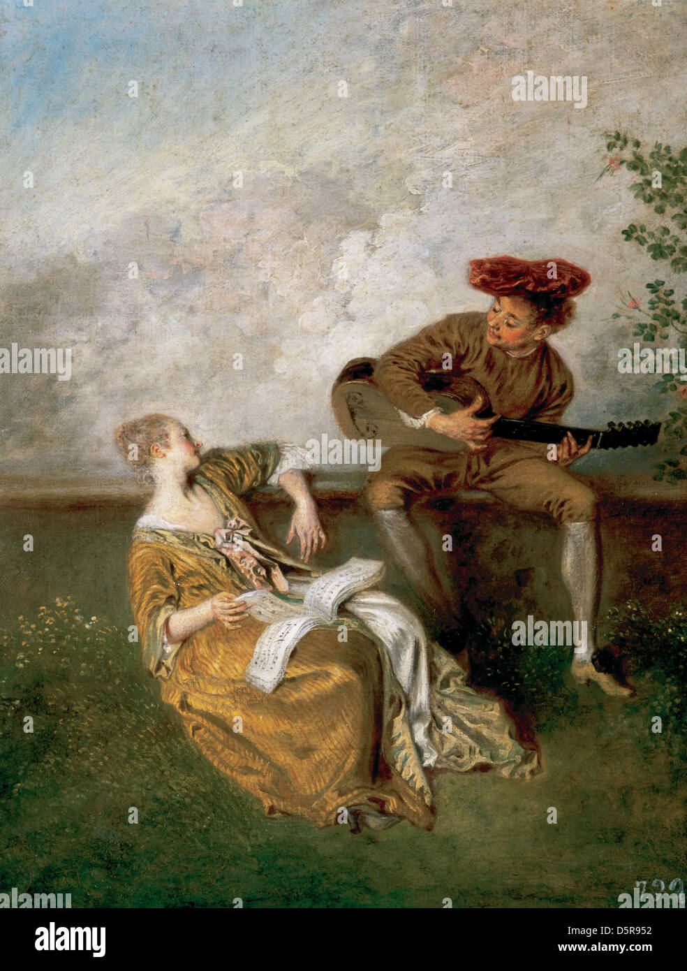 Jean-Antoine Watteau (1684-1721). French painter. The Singing Lesson, 1717-18. Guitarist and Young Lady with a Music - Stock Image