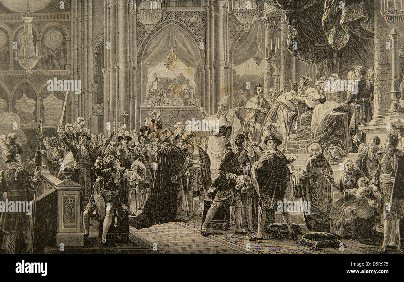 Charles X (1757-1836). King of France and Navarre. Consecration of Charles X of France in the Cathedral of Reims. Stock Photo