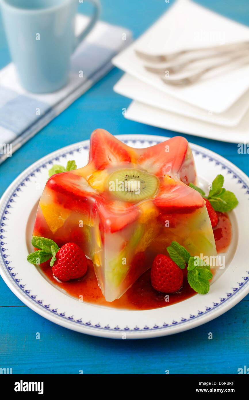 Fruit jell-o with orange blossom flavour.  Recipe available. - Stock Image
