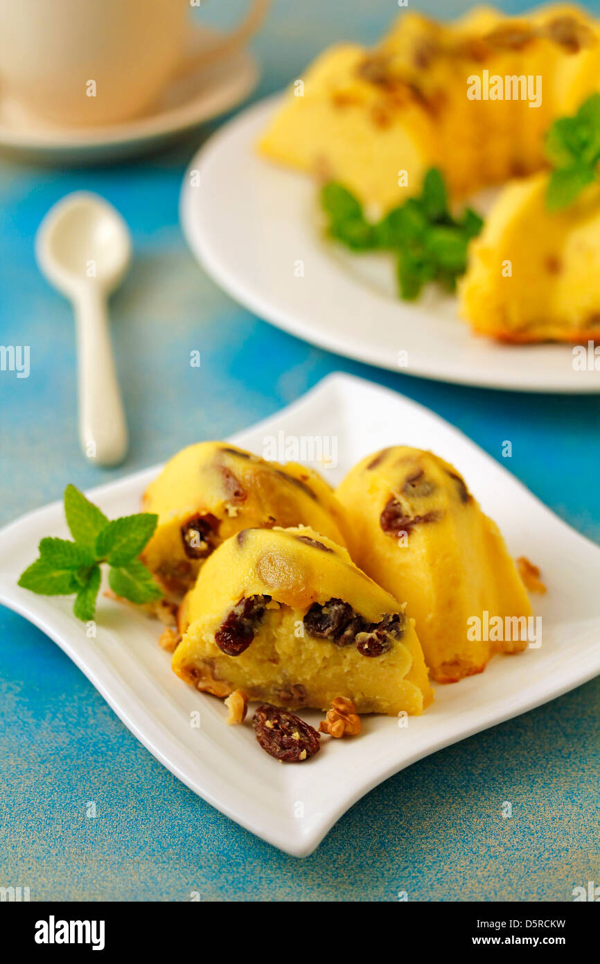 Cheese tart with walnuts and raisins. Recipe available. - Stock Image