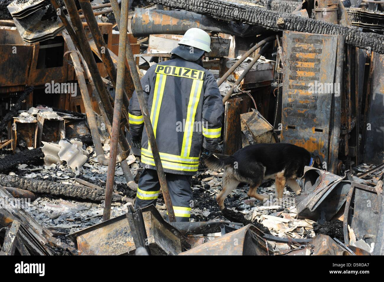 Police officer Peter Waerzner and sniffer dog Basko search for clues to the start of the fire the burned out Pallas - Stock Image