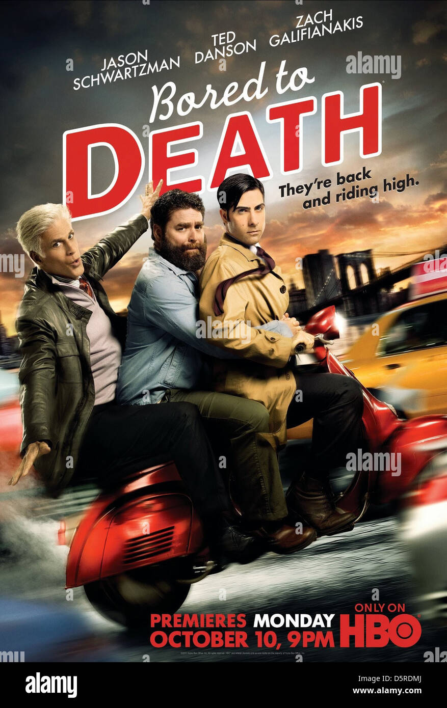Ted Danson Zach Galifianakis Jason Schwartzman Bored To Death Stock Photo Alamy