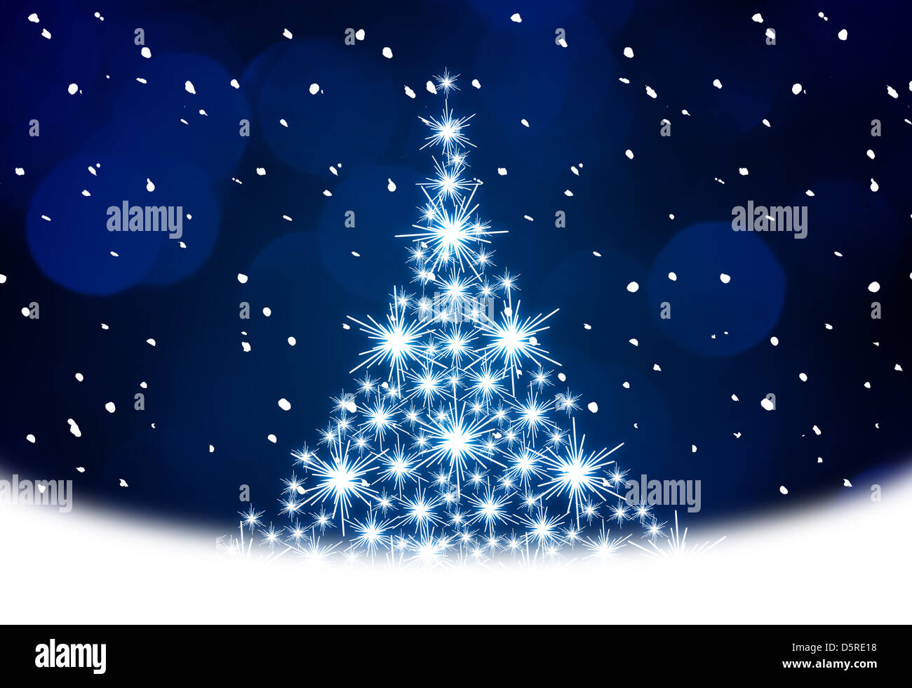 Christmas tree illustration on blue background Stock Photo