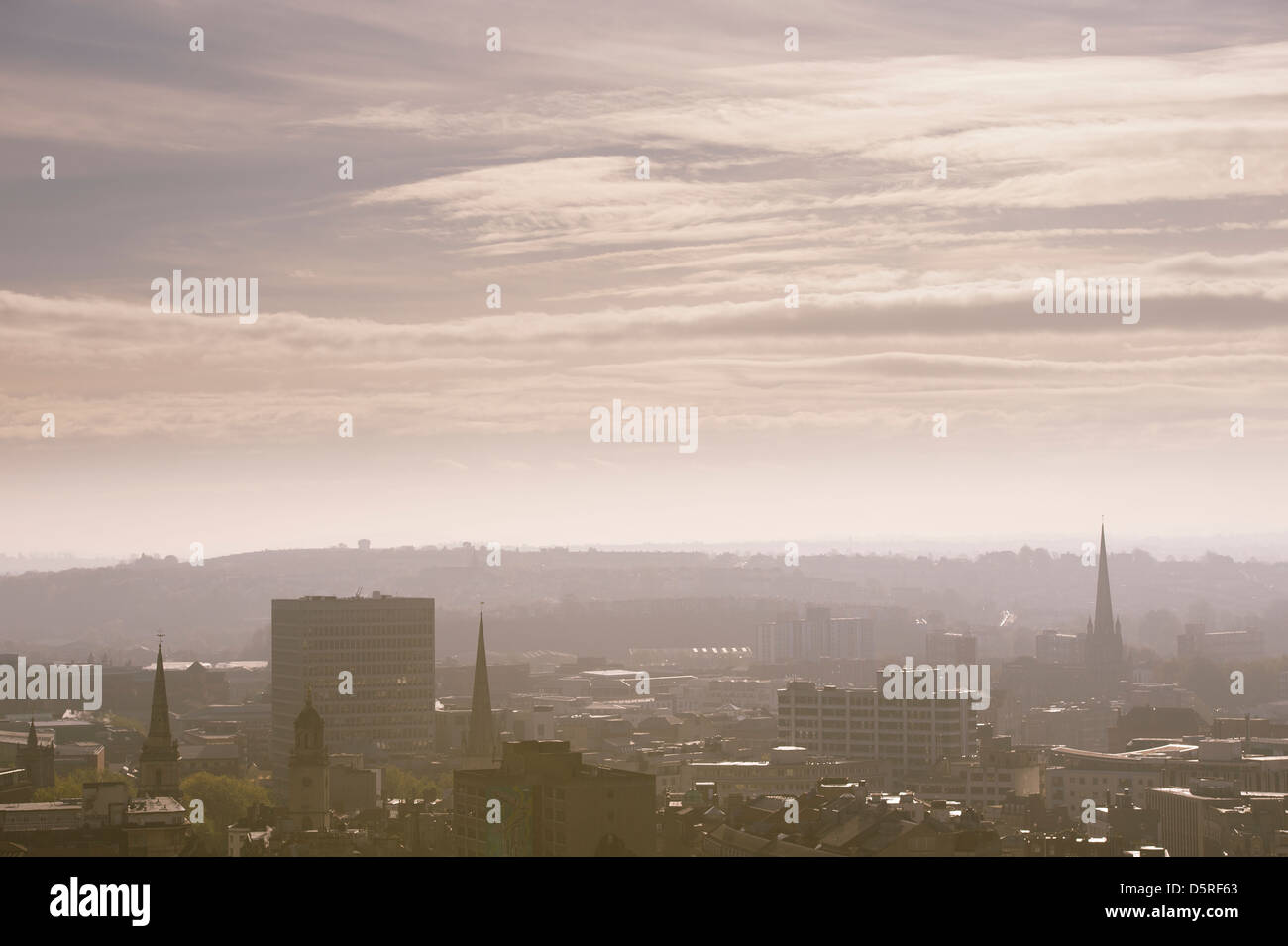 Beautiful view across the city of Bristol skyline on a misty morning, England. - Stock Image