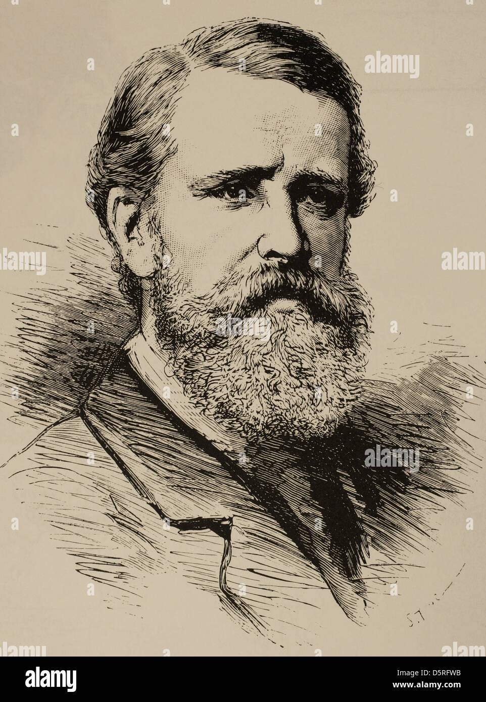 Verney Lovett Cameron (1844-1894). British explorer. Engraving in The Illustration. Universal Magazine, 1876. - Stock Image