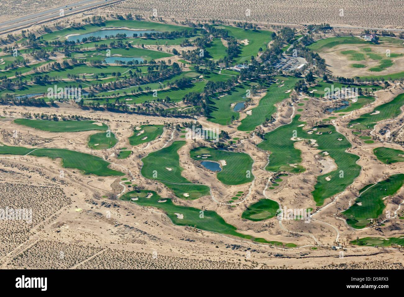 The Primm Valley Golf Club in the Mojave Desert. - Stock Image