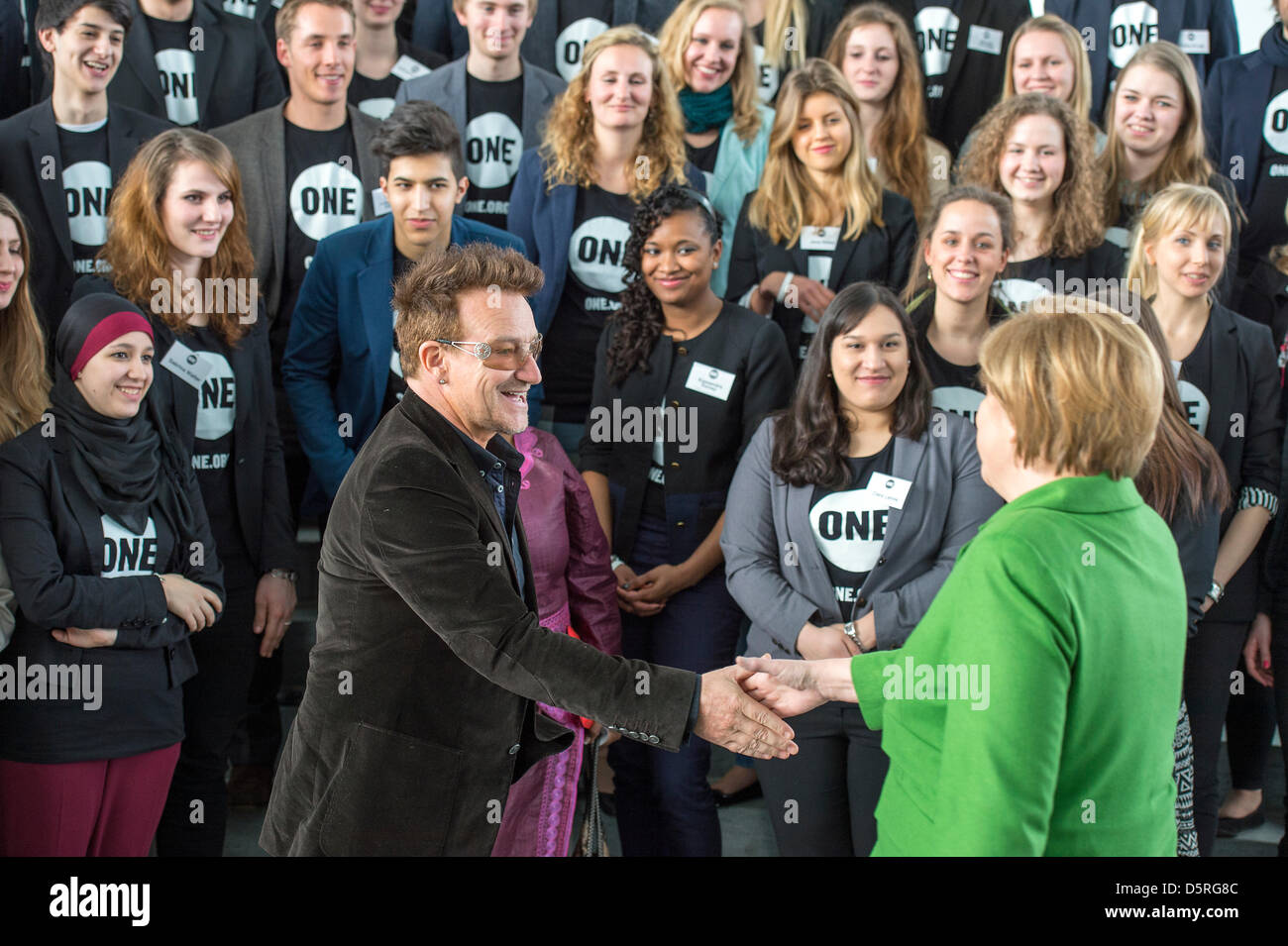 Berlin, Germany. 8th April 2013. German Chancellor Angela Merkel receives the Youth Ambassadors of the development - Stock Image
