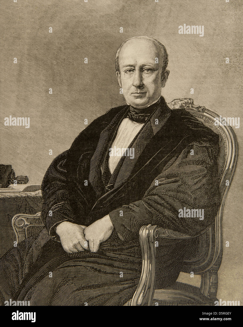 Manuel Cortina Arenzana (1802-1879). Spanish political and military. Engraving by Arturo Carretero. - Stock Image