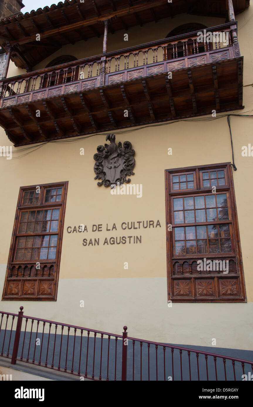 Casa de la Cultura San Agustin in La Orotava town Tenerife the Canary Islands Spain Europe - Stock Image