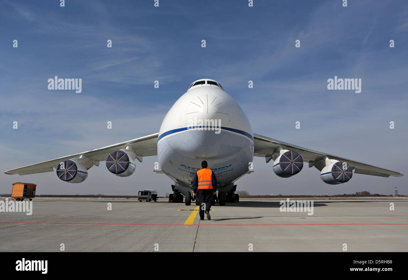 The nose of an Antonov An-124 is open for loading at Leipzig/Halle Airport in Schkeuditz, Germany, 08April 2013. Stock Photo