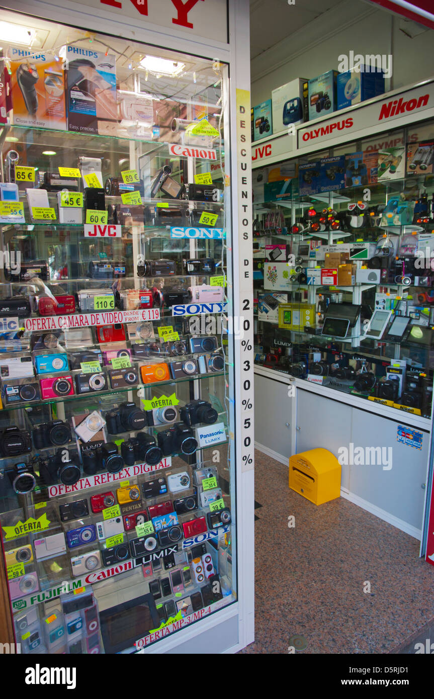 Electronics shop Calle de Quintana street Puerto de la Cruz city Tenerife island the Canary Islands Spain Europe - Stock Image