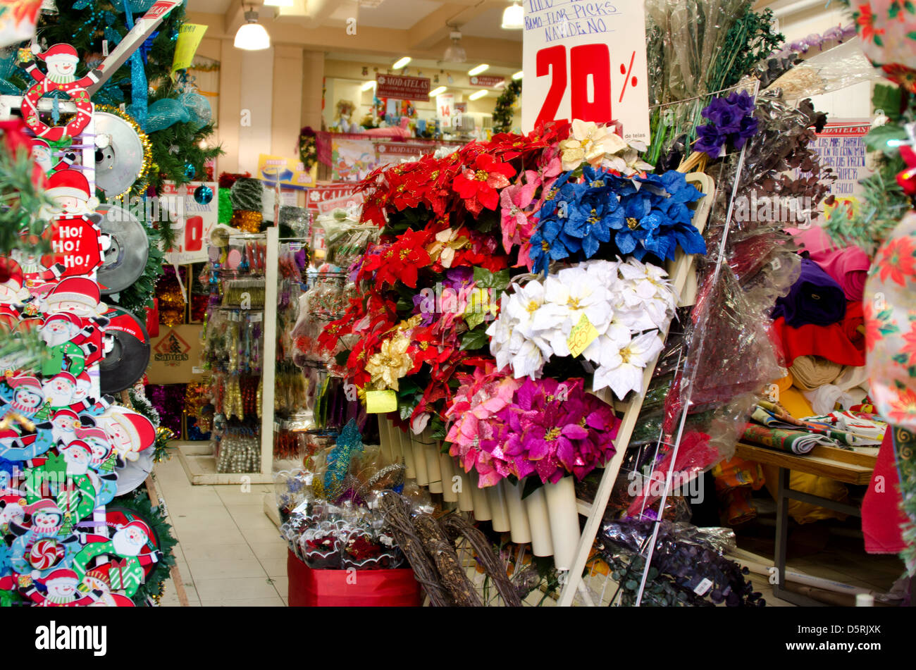 Store Having Sale On Christmas Decorations Including Blue Purple And Red Faux Poinsettias Oaxaca Mexico
