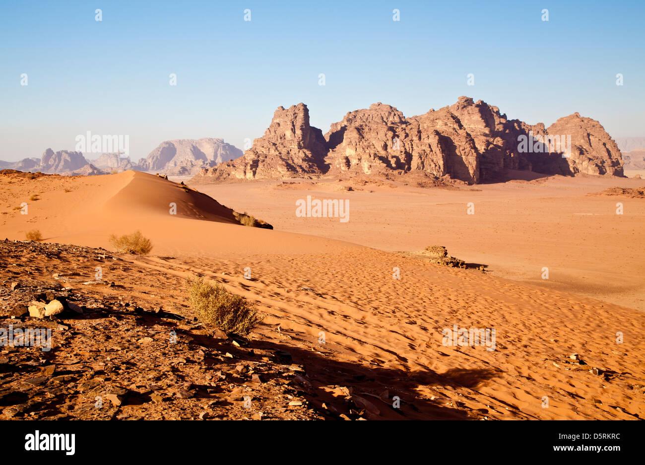 Wadi Rum or Valley of the Moon in Jordan - Stock Image