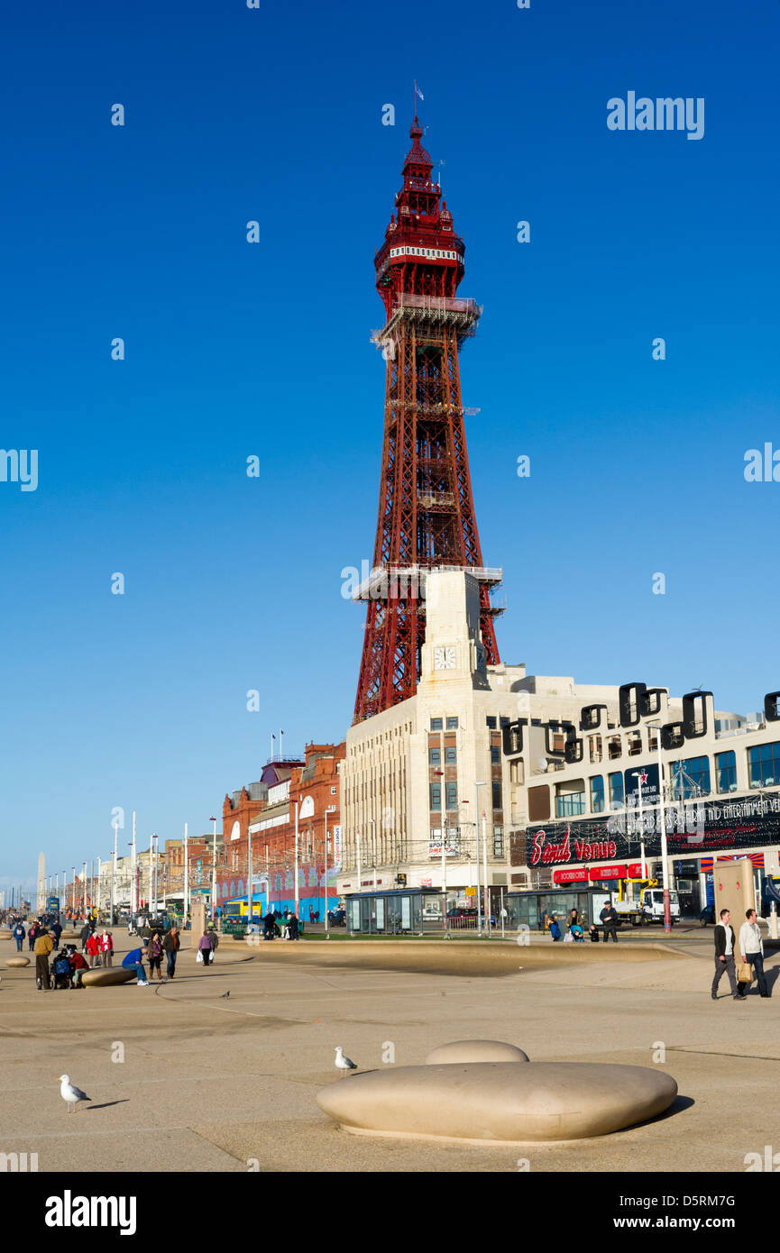 The seafront at Blackpool with the Promenade and Blackpool Tower, Lancashire, England, UK - Stock Image