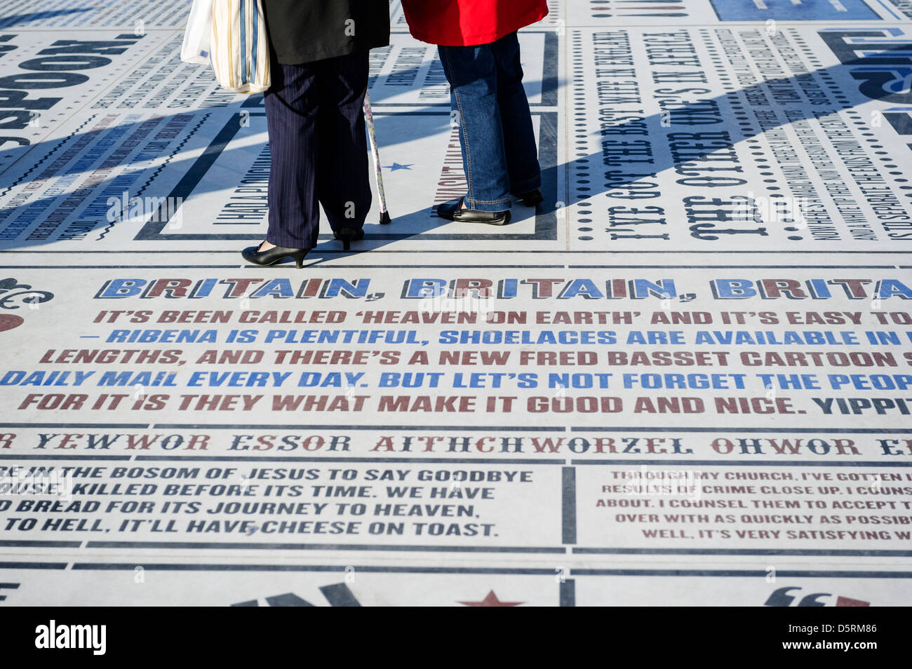 The Comedy Carpet on the seafront in Blackpool, Lancashire, England, UK - Stock Image