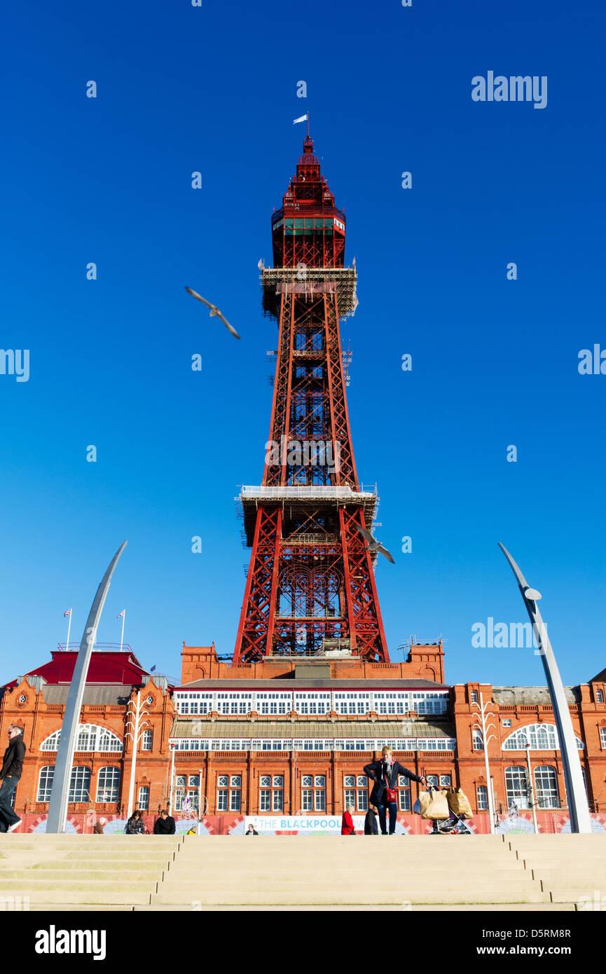 Blackpool Tower, Blackpool, Lancashire, England, UK - Stock Image