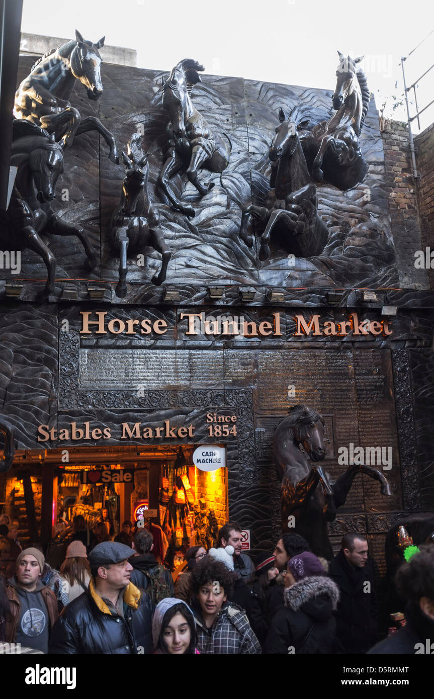 The entrance to the Horse Tunnel Market at Camden Market in London, UK - Stock Image
