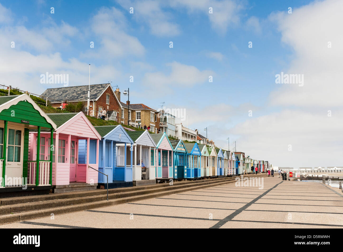Southwold in Suffolk, England, UK - with beach huts - Stock Image