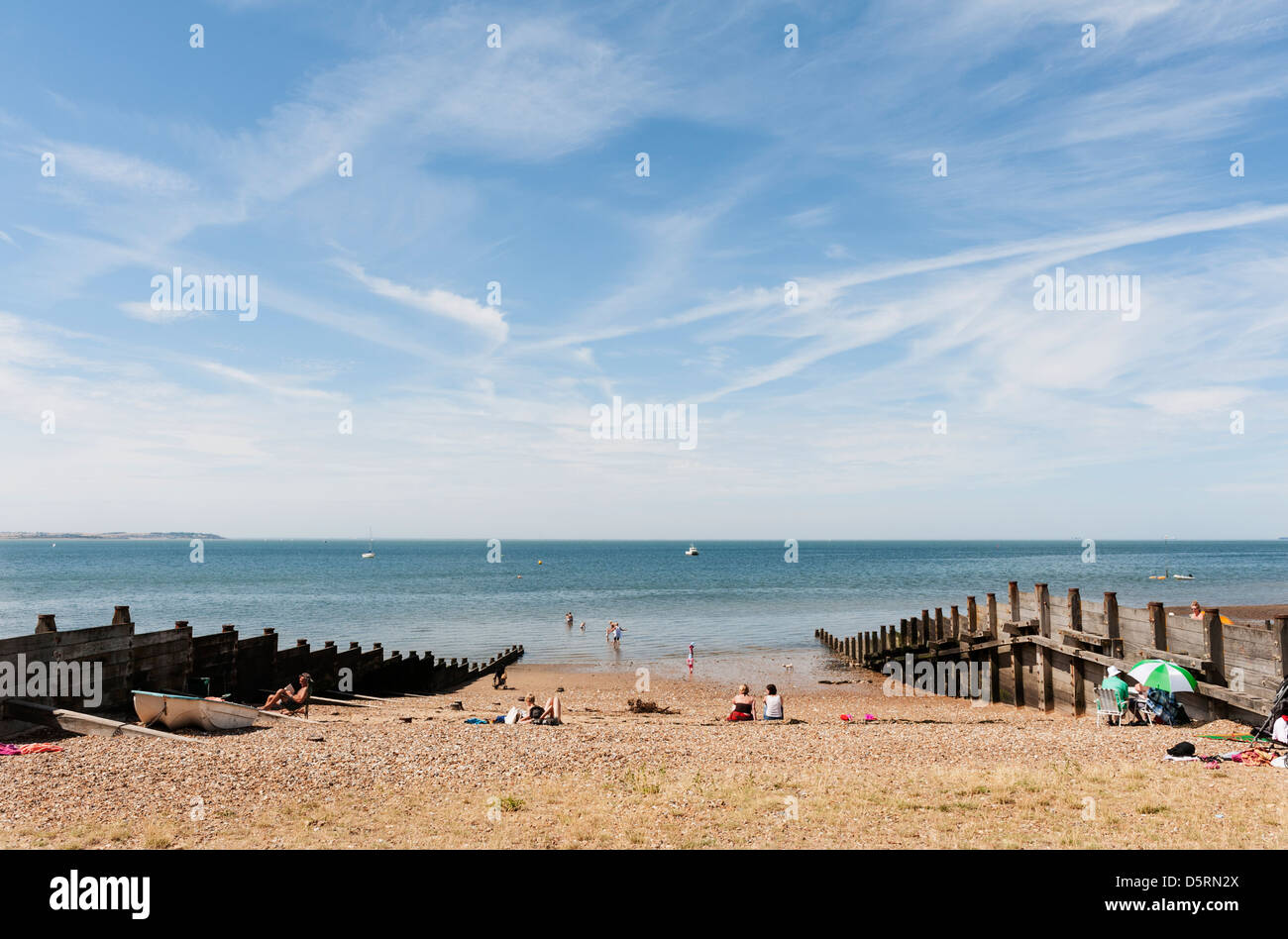 Whitstable in Kent beach, England, UK - Stock Image